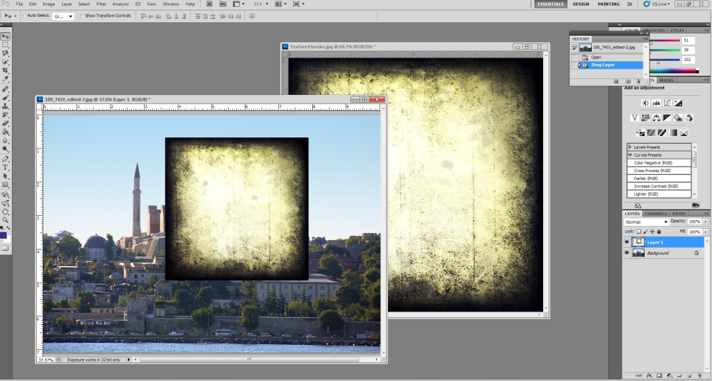 How to use textures in Photoshop: Moving texture image onto background image