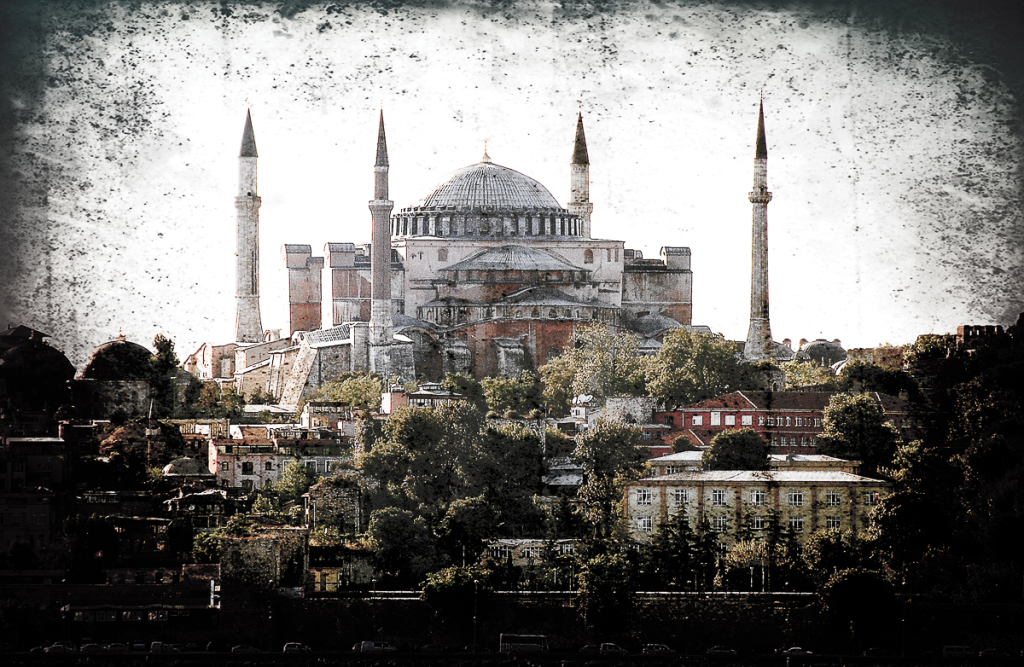 How to use textures in Photoshop: Hagia Sophia, Istanbul image using Linear Burn blend mode