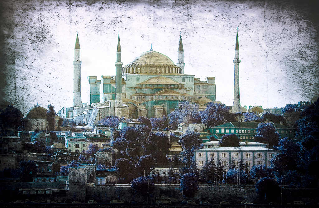 How to use textures in Photoshop: Hagia Sophia, Istanbul image using Multiply blend mode and Hue adjustments
