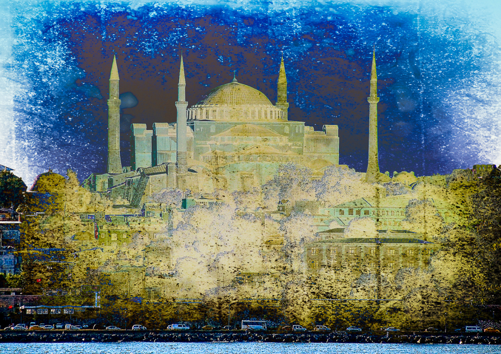 How to use textures in Photoshop: Hagia Sophia, Istanbul image using Difference blend mode