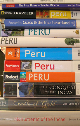 The best travel advice: stack of books on Peru