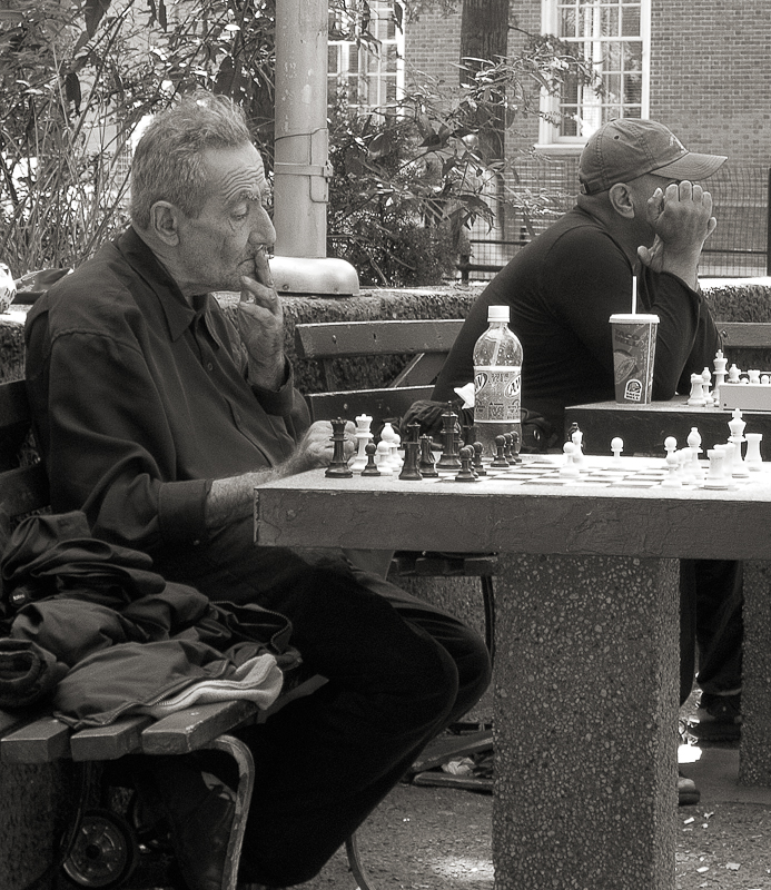 Playing chess in the park