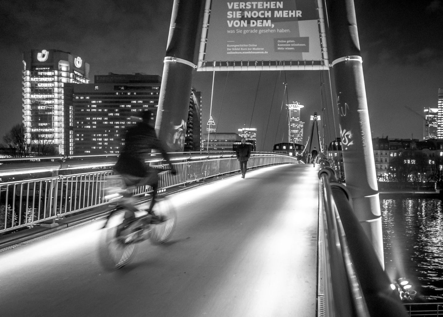 Frankfurt stopover - Bicyclist on bridge
